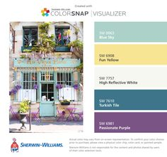 I found these colors with ColorSnap® Visualizer for iPhone by Sherwin-Williams: Blue Sky (SW 0063), Fun Yellow (SW 6908), High Reflective White (SW 7757), Turkish Tile (SW 7610), Passionate Purple (SW 6981).