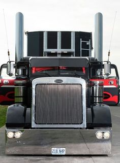 A mean looking, low-riding Peterbilt custom rig.