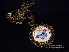 Ellys Shop: Colier fluturas Charmed, Pendant Necklace, Bracelets, Handmade, Jewelry, Fashion, Moda, Hand Made, Jewlery