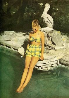 She wore an itty-bitty, teeny-weeny yellow plaid bikini :) #vintage #bathingsuit #swimsuit #1940s #summer #fashion #style #clothing #forties