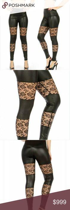 COMING SOON!! Faux Leather And Lace Leggings! Coming soon with more details...faux leather and lace black leggings Pants Leggings