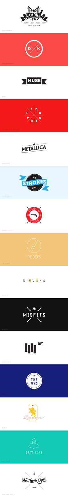 Rock Bands Logos Hipster Design http://www.behance.net/gallery/Bands-Hipsterized/10647349 ¡Hipsterized!