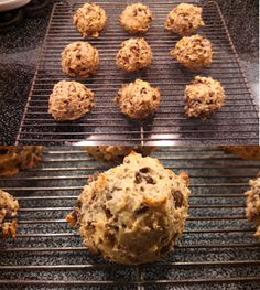 """BANANA CHOCOLATE CHIP BREAD BITES - 1 IP Banana Pudding, 1 IP Crispy Cereal, 2 tsp. Baking Powder, 1/4 tsp. Stevia, pinch of IP Salt - pulverize. Add 1/3 C. Liquid Egg Whites, 1 tsp. Extra Light Olive Oil, 1 T. Skim Milk, 1 T. IP Vanilla Premade Drink. Mix. Smash 1 IP Chocolate Soy Puffs in pkg into small pieces. Stir into batter. Spray cookie sheet and use cookie scoop to make 9 bites. Bake 350 - 10"""" ~ Eat up! janeva caroline"""