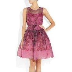 Leighton Meester wearing Red Valentino Animal Print Silk Chiffon Dress.