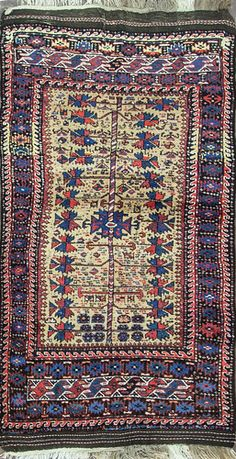 "Unique Belouch Rug Size: 3'4"" x 6'4"" - 102cm x 193cm Origin: Southeast Caspian SeaPeriod: C 1900"