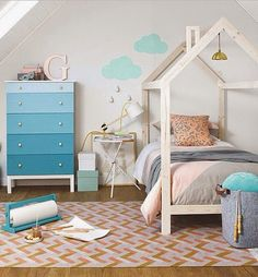 House bed blue and white kids bedroom