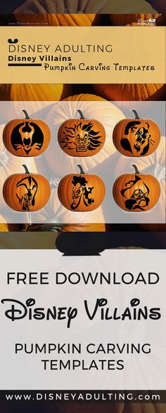 Welcome — Coming Soon It's not easy being a villain, but with these pumpkin carving templates, you'll have it easy bringing them to life this Halloween in 6 ready-to-carve Halloween pumpkin carving patterns. Pumpkin Carving Templates Free, Disney Pumpkin Carving Patterns, Halloween Pumpkin Carving Stencils, Amazing Pumpkin Carving, Easy Pumpkin Carving, Halloween Pumpkins, Halloween Crafts, Halloween Party, Carving Pumpkins