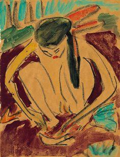 ERNST LUDWIG KIRCHNER  Kauerndes Mädchen (Fränzi)  Aquarell,                rückseitig Baseler Nachlaßstempel, 435 x 335mm um 1910