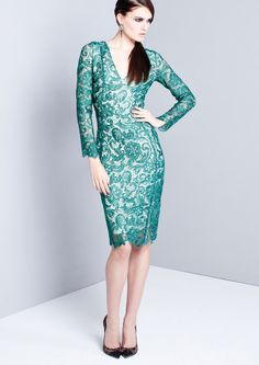 MURIEL - Green Lace Pencil Dress