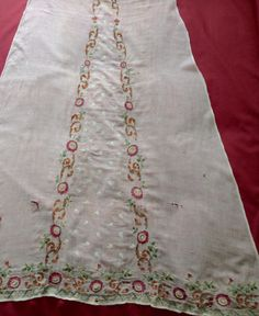 Panels of Antique Regency Gown Early Tamboured 18th Century Dress, 19th Century, Historical Clothing, Historical Dress, Muslin Dress, Regency Dress, Embroidered Clothes, Crewel Embroidery, Fashion Plates