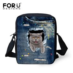 Cute Pet Dog Cat Print Denim School Bags For Girls, Animal Schoolbag Student Kids Bookbags Children Mini Bag