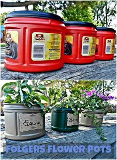Don't throw your old coffee containers in the garbage. re-purpose them and use them as pots for your flowers! Don't throw your old coffee containers in the garbage. re-purpose them and use them as pots for your flowers!