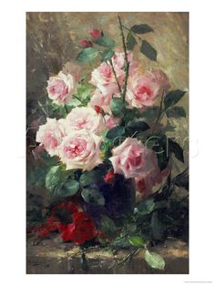 Still Life of Pink Roses Giclee Print by Frans Mortelmans - by AllPosters.ie