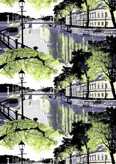 Aurajoki, lila by Riina Kuikka Weekend House, Open Field, Marimekko, End Of Summer, Textures Patterns, Finland, Printing On Fabric, Scandinavian, Digital Prints