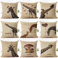 Retro European Throw Pillow Covers Case Home Decor Couch Newspaper Giraffe Printed Linen Cuscino Cushion Cover Cojines Almohada