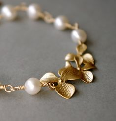 Orchid Flowers and Pearl Bracelet #etsy