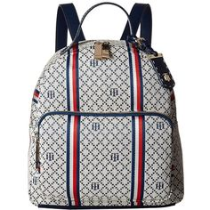 Tommy Hilfiger Julia Dome Backpack (Navy/Natural) Backpack Bags ($83) ❤ liked on Polyvore featuring bags, backpacks, white bag, cotton backpack, white backpack, navy backpack and tommy hilfiger backpack