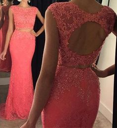 New Arrival Sexy Prom Dress 2 Pieces Lace Evening Dress Prom Gown