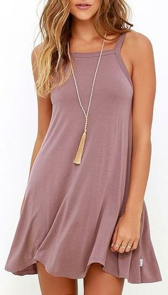Steal a bit of sunshine and an admiring glance or two in the RVCA Thievery Mauve Dress! Soft jersey knit is shaped to wide straps, a squared-off neckline, and trapeze silhouette with scalloped hem. #lovelulus