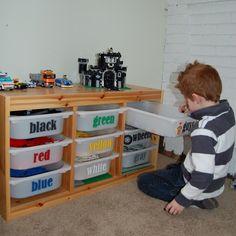 Cool organization idea for Legos from: I am Momma Hear Me Roar