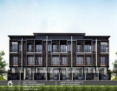 ออกแบบอาคารพาณิชย์ Facade Design, Exterior Design, House Design, Residential Architecture, Modern Architecture, Townhouse, Facades, Building, Sketch