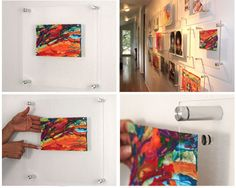 Wexel art frames feature a single panel of acrylic floating on cool silver wall mounts. The magic is that pairs of strong magnets hold art of any shape behind the acrylic, imparting a high-end look to any display.