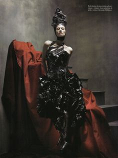 'McMenamy': Kristen McMenamy by Steven Meisel for Vogue Italia, July 2009  in Alexander McQueen Fall Winter 2009