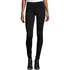 Rachel Pally Super Long Leggings ($94) ❤ liked on Polyvore featuring pants, leggings, black, wide-waistband leggings, legging pants, extra long pants, pull on pants and form fitting pants