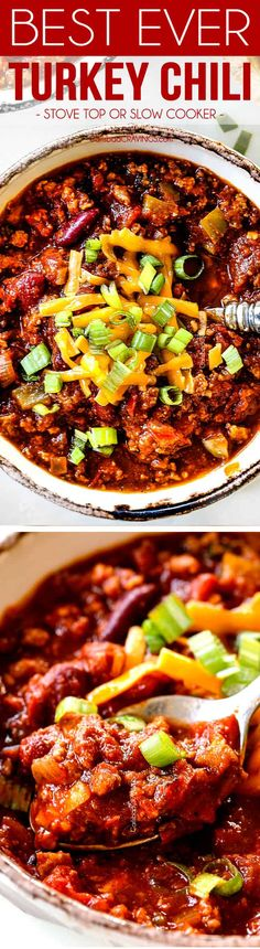 BEST EVER dump and simmer Turkey Chili recipe (stove top or slow cooker) can be on the table in less than an hour and is divinely delicious, healthy yet hearty and SO packed with flavor thank to a SECRET INGREDIENT you won't even miss the beef! #soup #chili #turkey #healthyrecipes #dinner #slowcooker #crockpot #crockpotsoup #slowcookersoup #turkeychili via @carlsbadcraving Chili Recipe Stovetop, Chili Recipes, Slow Cooker Soup, Crock Pot Soup, Carlsbad Cravings, Turkey Chili, Crockpot, Table, Turkey Chilli