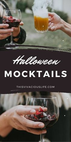 Halloween mocktails are spooky and fun plus, everyone can enjoy them. These non-alcoholic Halloween drinks are yummy will take your party to the next level! Plus, a mocktail recipe can be made in just a few minutes. These easy to make mocktails are perfect for fall, and make for the best cozy night in drink or a kids party! #HalloweenMocktails #NonAlcoholicDrinks #ThisVivaciousLife Halloween Themed Food, Halloween Cocktails, Healthy Halloween, Holiday Drinks, Halloween Inspo, Spooky Halloween, Hard Drinks, Fancy Drinks, Coffee Drink Recipes
