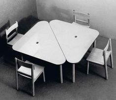 #MariaChomentowska - Szkolne stoliki z krzesełkami dla dzieci młodszych, wykonanie Zakład Meblarski Instytutu Wzornictwa Przemysłowego w Warszawie, 1963