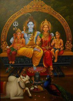 "Saatchi Art is pleased to offer the painting, ""Lord Shiva Family,"" by Sakthivel Subramani. Original Painting: Oil on Canvas. Size is 0 H x 0 W x 0 in. Lord Vishnu, Lord Ganesha, Chakras, Shiva Tattoo Design, Shri Yantra, Lakshmi Images, Lord Shiva Hd Wallpaper, Lord Shiva Family, Lord Mahadev"