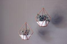 DIY Copper Himmeli Hanging Planter | HelloLovelyLiving.com