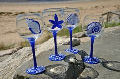Blue Shell Hand Painted Wine Glasses