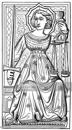 'Justice', tarot card from the Charles VI or Gringonneur deck, 14th century, (1870). Taken from a deck in the Bibliothèque Impériale, Paris. A wood engraving from The Arts of the Middle Ages and at the Period of the Renaissance, by Paul Lacroix, (London, 1870).