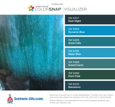 I found these colors with ColorSnap® Visualizer for iPhone by Sherwin-Williams: Dark Night (SW 6237), Dynamic Blue (SW 6958), Great Falls (SW 6495), Major Blue (SW 6795), Grand Canal (SW 6488), Hunt Club (SW 6468), Rainstorm (SW 6230).
