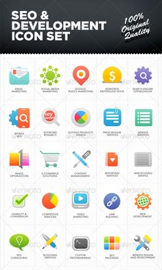 SEO & Development Icon Set  -  PSD Template • Only available here! →…