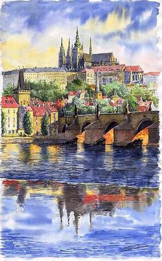 "Prague 34, Watercolour on paper 65 x 44 cm (26"" x 17"") 