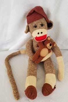 Sock Monkey With Sleep Hat Slippers And Teddy Bear Hand Made Not Used 21
