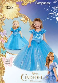 """disney princess cinderella costume gown for child and matching costume for 18"""" doll features attached skirt with overlay and elegant bateau neckline. child's dress includes attached petticoat. simplicity sewing pattern."""