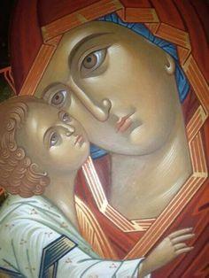 Богородица са Христом Byzantine Icons, Byzantine Art, Religious Icons, Religious Art, Madonna, Face Icon, Russian Icons, Religious Paintings, Biblical Art