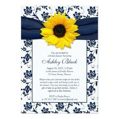 Discount Deals Sunflower Navy Damask Bridal Shower Invitation We provide you all shopping site and all informations in our go to store link. You will see low prices on
