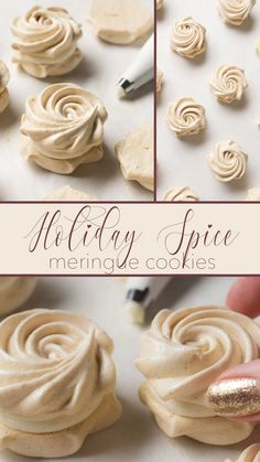 Meringue cookies flavored with speculaas spice and filled with sweet cream cheese frosting. Baked Meringue, Meringue Cookie Recipe, Meringue Desserts, Just Desserts, Dessert Recipes, Chocolate Meringue Cookies, Meringue Food, Bar Recipes, Candy Recipes
