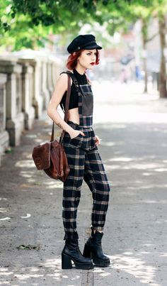 checkered jumpsuit with combat boots