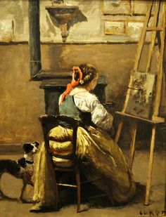 Camille Corot (French, 1796-1875) - The Artist's Studio. Woman at an Easel - 1870