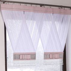 Zestaw-32 - Firany Adamski Diy Curtains, Kitchen Curtains, Window Coverings, Window Treatments, Rideaux Design, Curtain Designs, Small Room Bedroom, New Homes, Windows