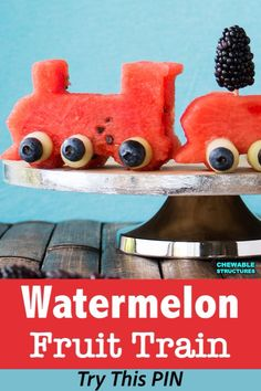 It's super easy to build this fun watermelon fruit train. If you're looking for baby shower food ideas, dump your boring fruit salad recipes and fruit platters. Build this fruit train instead! Choo choo! #fruitsalad #fruittrain #watermelon #babyshowerideas