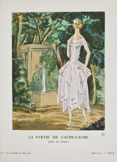 """La Partie de Cache-Cache - Robe en ruban,"" Mario Simon, January 1921. Published from 1912 to 1925, ""La Gazette du Bon Ton"" was an iconic French fashion magazine started by Lucien Vogel. His goal was to emphasize the connection between fashion and art, and maintain a distinct and elitist image. Exquisite and vibrant fashion plates featuring women's clothing were created by modern artists of the period."