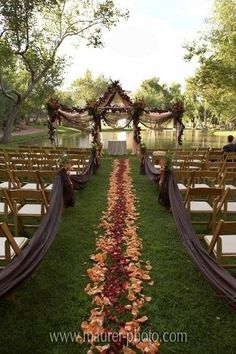 This is gorgeous, and I love the draping on the chairs, no one should walk down the aisle but the bride.
