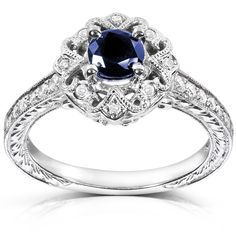 Annello by Kobelli 14k White Gold Round-cut Sapphire and Diamond Vintage Engagement Ring
